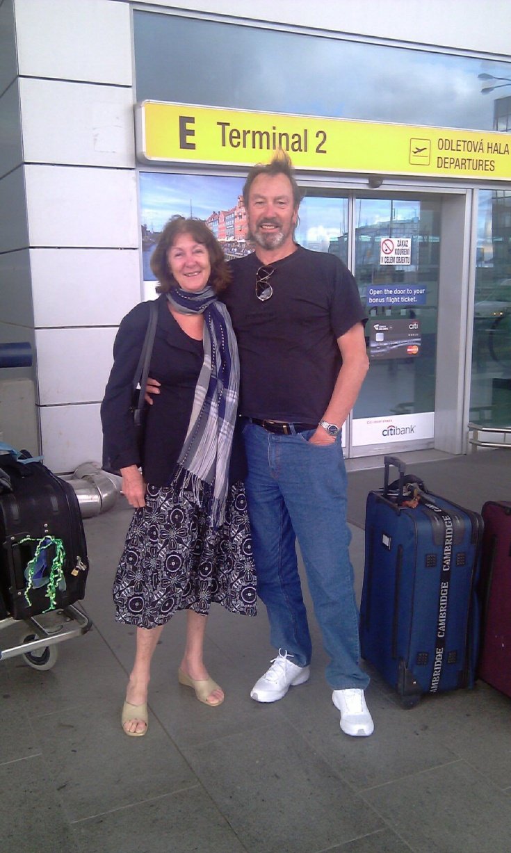 Tricia and John at the Prague airport